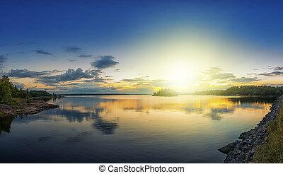 Sunset over archipelago
