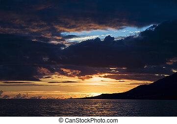 Sunset over Atlantic ocean in Azores