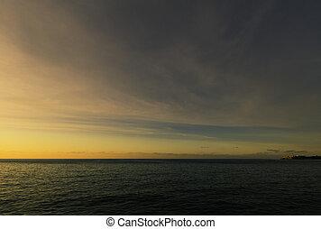 Sunset over Atlantic Ocean in Havana, Cuba