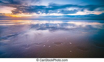 Sunset over beach at North sea coast