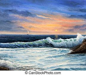 Sunset over beach - Original oil painting of beautiful ...