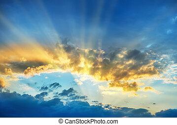 Sunset over beautiful blue sky