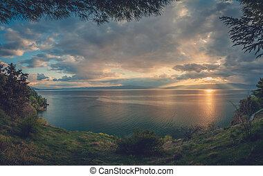 Sunset over beautiful Lake Ohrid