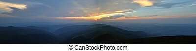 Sunset over blue mountains panorama