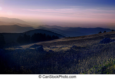 Sunset over Blue Ridge Mountains in Virginia