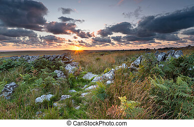 Sunset over Bodmin Moor in Cornwall