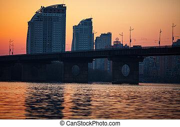 sunset over bridge