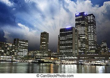 Sunset over Brisbane Buildings, Australia