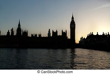 Sunset over British Parliament
