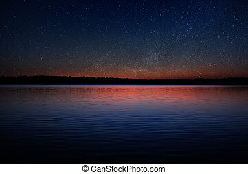 Sunset over Calm Lake with Real Stars in the Sky