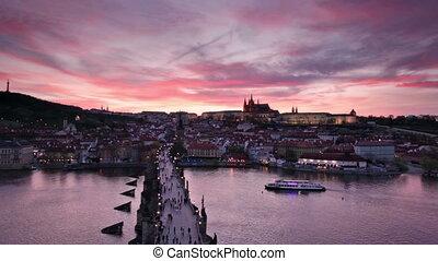 sunset over Charles Bridge and Prague Castle, Czech Republic...