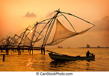 Sunset over Chinese Fishing nets in Cochin - Sunset over ...