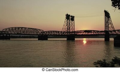 Sunset Over Columbia River Crossing - Sunset over Columbia...