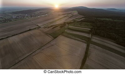 Sunset over country aerial footage - Aerial drone footage
