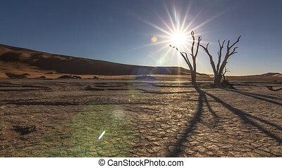 sunset over desert dead vlei - sunset time lapse sun going...