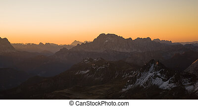 sunset over dolomite alps