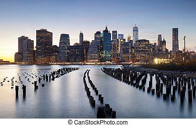 Sunset over Downtown Manhattan, New York