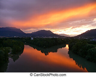 Sunset over Drau river - Villach Austria - Sunset over Drau...