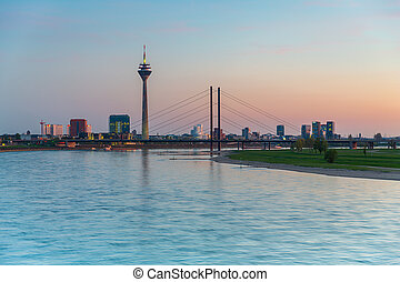 sunset over Dusseldorf at the rhine river