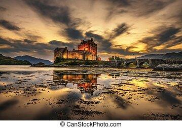 Sunset over Eilean Donan Castle in Scotland
