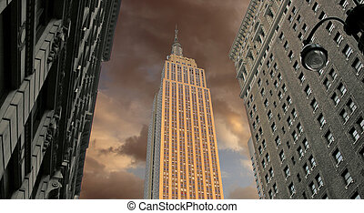 Sunset over Empire State Building, U.S.A.