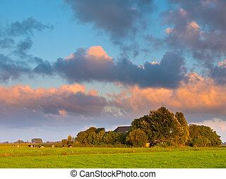 Sunset over Farm Yard