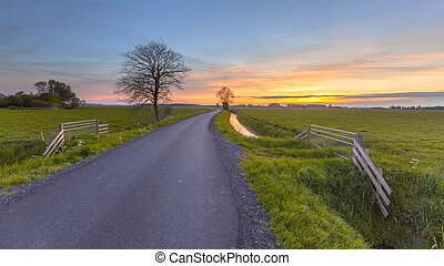 Sunset over farmland Groningen Province