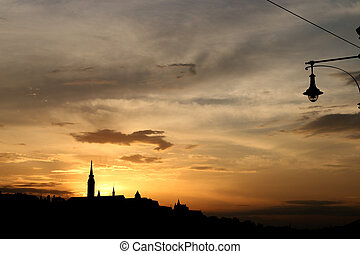 sunset over Fisherman bastion Budapest