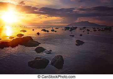 Sunset over Flores coast