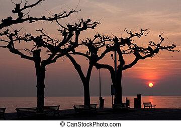 sunset over garda lake