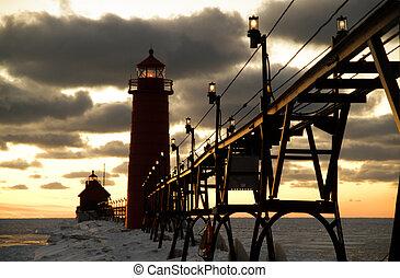 Grand Haven Lighthouse, Grand Haven, Michigan, USA - Sunset...