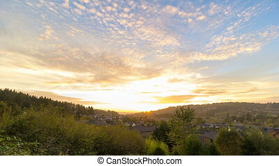 Sunset over Happy Valley in Oregon - Time-lapse movie of...