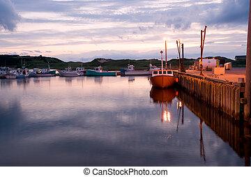 Boats in Inverness harbor, Cape Breton, Nova Scotia