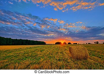 sunset over hay bales field