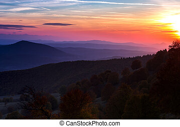 Sunset over hills covered with autumn trees