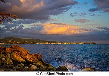 Sunset over Honalulu Oahu Hawaii