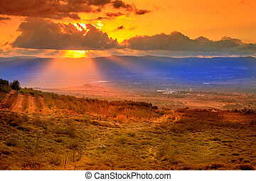 Sunset over Hula Valley