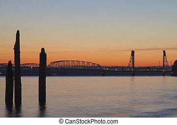 Sunset Over Interstate 5 Freeway Columbia River Crossing Bridge Between Oregon and Washington State
