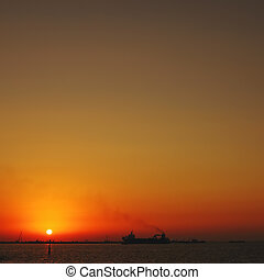 Sunset over Jumeira beach in Dubai.