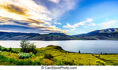 Sunset over Kamloops Lake along the Trans Canada Highway in...