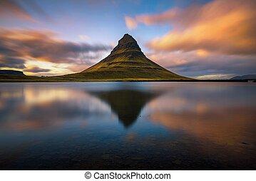 Sunset over Kirkjufell mountain in Iceland
