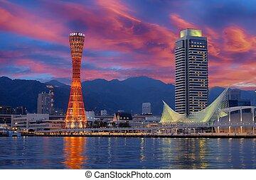 Sunset over Kobe harbour