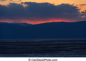sunset over Lake Baikal in the spring
