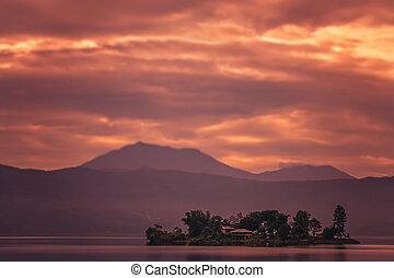 Sunset over Lake Maninjao