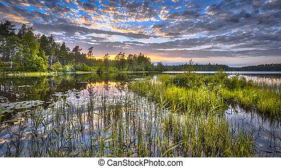 Sunset over lake Nordvattnet in Hokensas