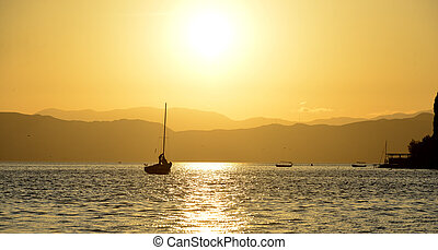 sunset over lake ohrid in macedonia