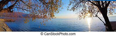 sunset over lake ohrid, macedonia