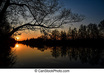 sunset over lake, photo as a background