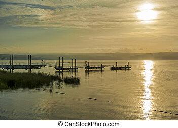 sunset over lake tiberias