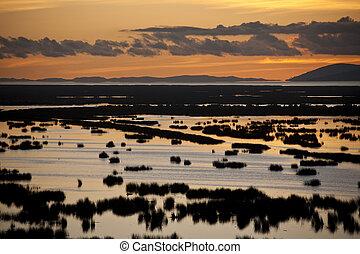 Sunset over Lake Titicaca - Peru